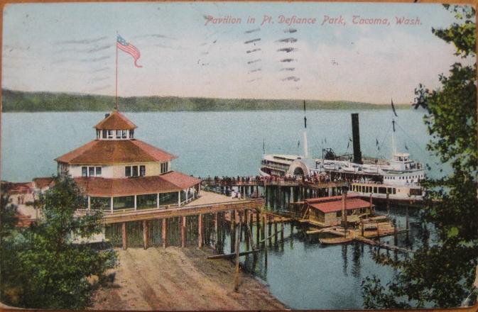 1910-Postcard-Steamer-Ship-Pt-Defiance-Park-Tacoma-WA
