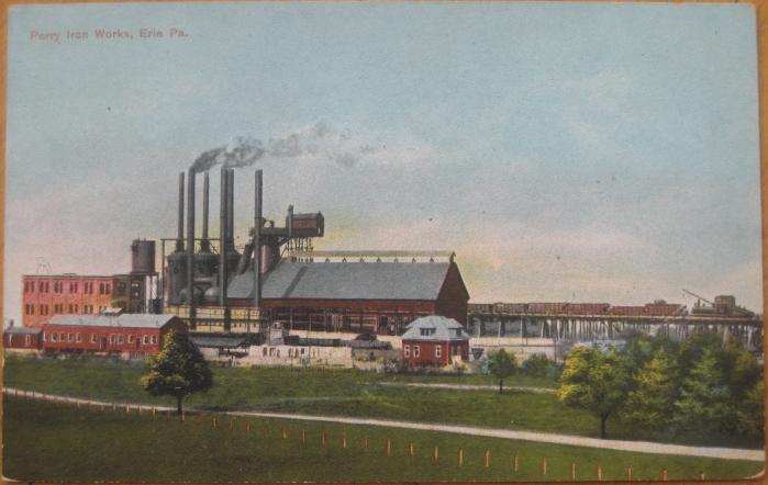 1909-Postcard-Perry-Iron-Works-Erie-PA-Pennsylvania